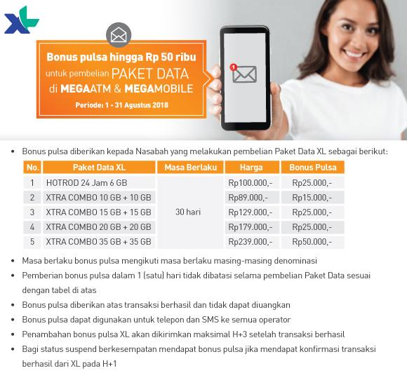 Bank Mega - Promo Bonus Pulsa s.d 50 Ribu di ATM atau Mobile (s.d 31 Agustus 2018)
