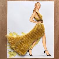 Arte con collage de comida - miel