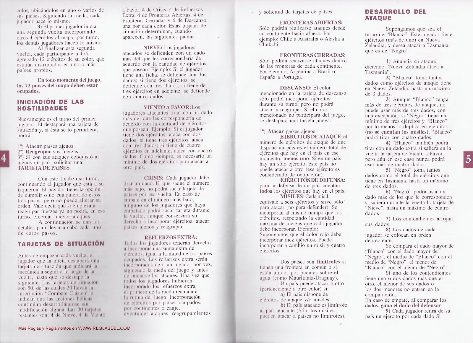 Reglas Y Reglamentos Teg Revancha Manual De Intrucciones