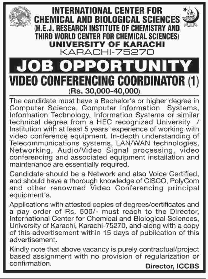 Video Conferences Coordinator Jobs University Of Karachi 31 May 2017