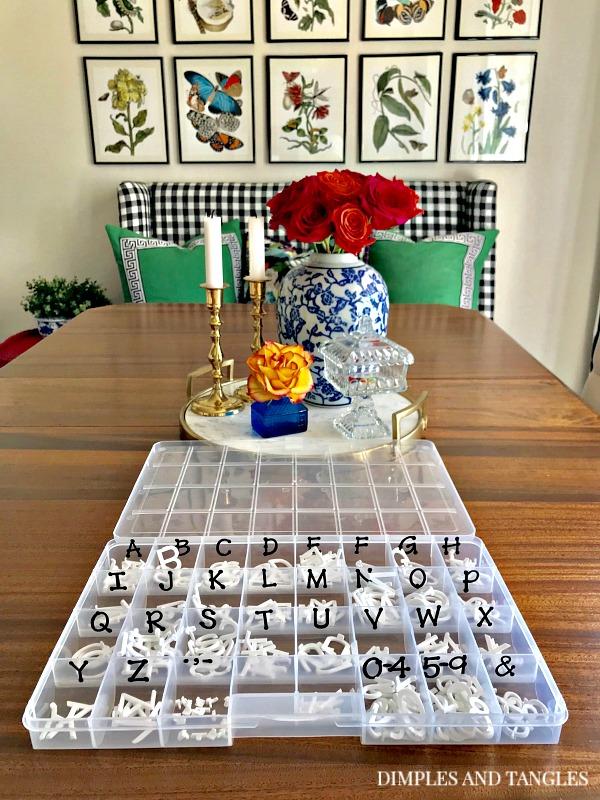 letter board, letter board storage, organization, breakfast nook
