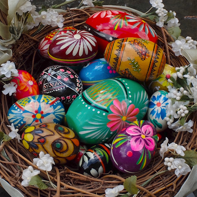 Polish pysanky eggs decorated with symbols of nature's renewal.