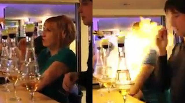 Barman quiso lucirse y le prendió fuego a una cliente