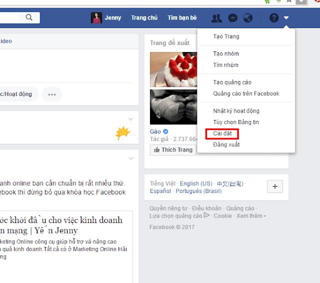 chọn cài đặt trong Facebook