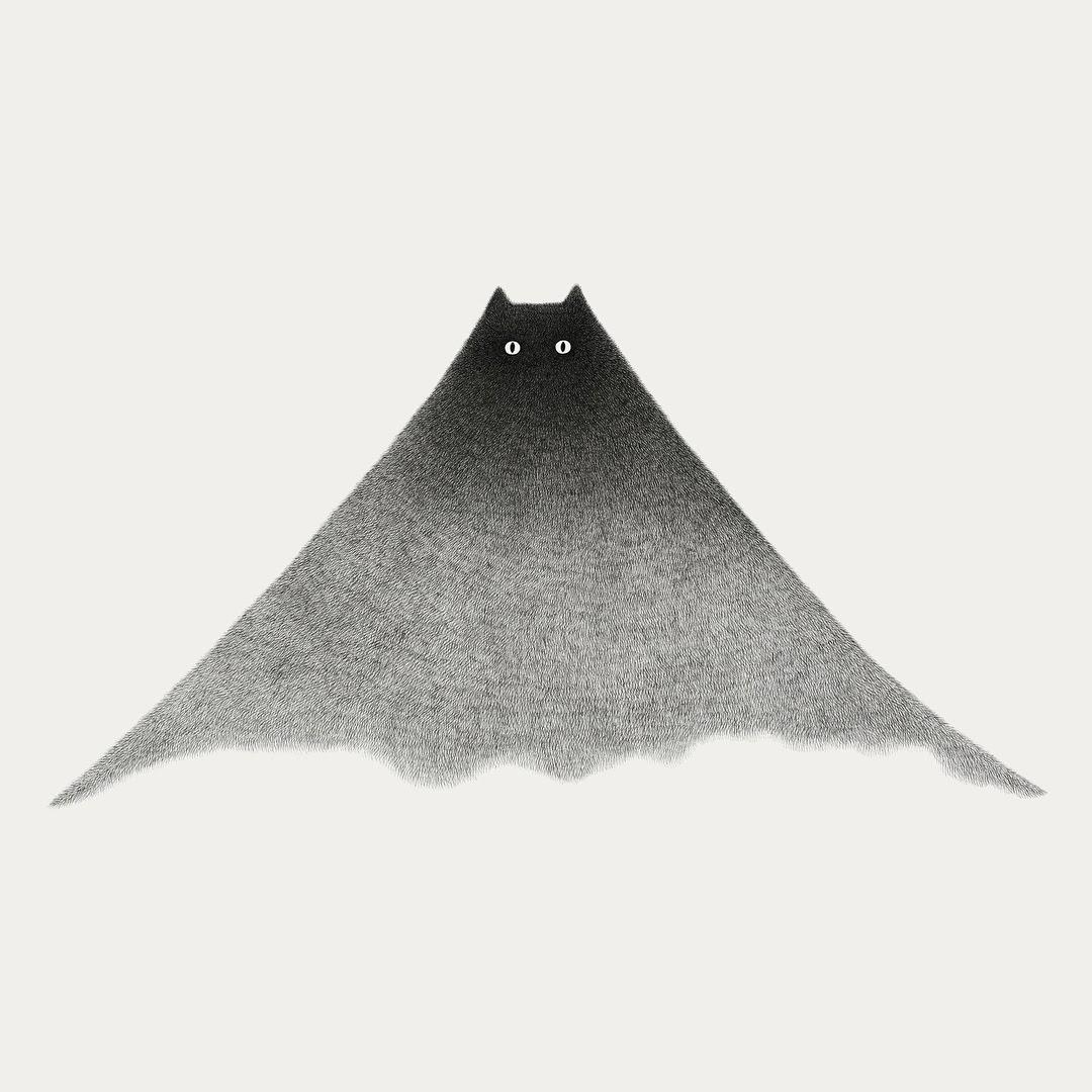 09-Cat-Mountain-Kamwei-Fong-14-Furry-Cats-and-1-Furry-Monkey-Drawings-www-designstack-co