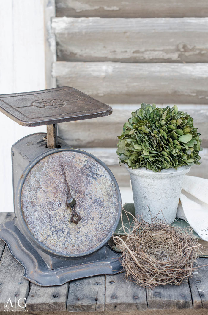 Would you believe this stylish kitchen scale was a rusty $3 find?  See how easy the transformation was at www.andersonandgrant.com. #DIY #farmhouseDIY