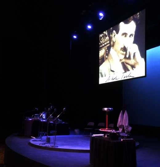 "In the audience, waiting for ""Tesla: A Radio Play"" to begin (Courtesy: Laguna Playhouse)"