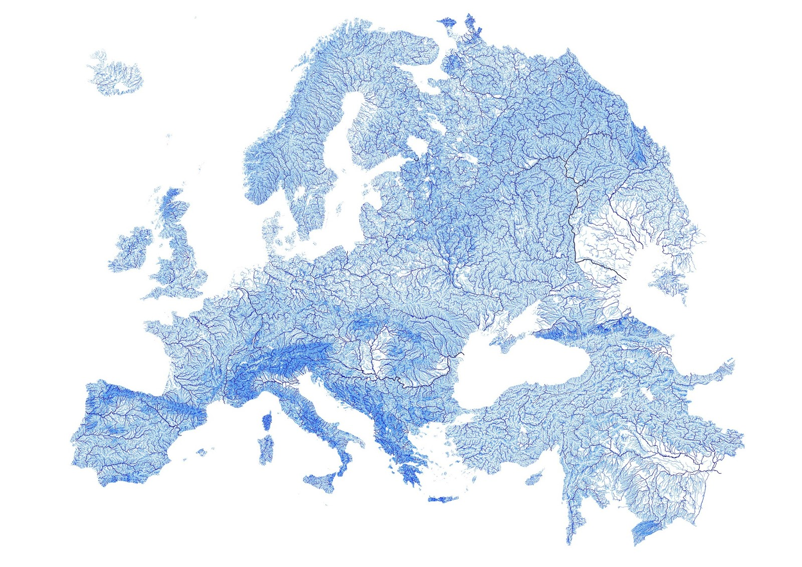 Europe plotted by every mapped stream and river
