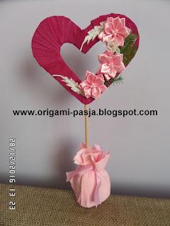 serce, prezent, podarunek, krepa włoska, dzień babci i dziadka,