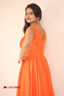 Priyanka in a Deep neck orange Sleevless Dress at Karulo Shikarukelithe Teaser Launch