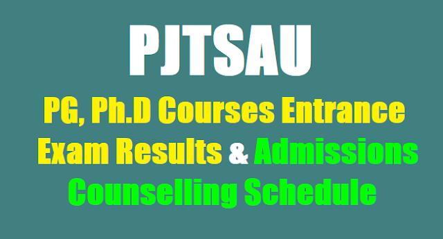 PJTSAU PG Ph.D Entrance Exam Results, PG Ph.D Admissions Counselling Schedule