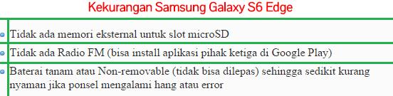 Kekurangan Hp Samsung Galaxy S6 Edge