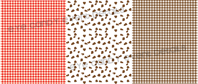 scrapbook paper, red gingham paper, chocolate chip pattern paper, brown gingham