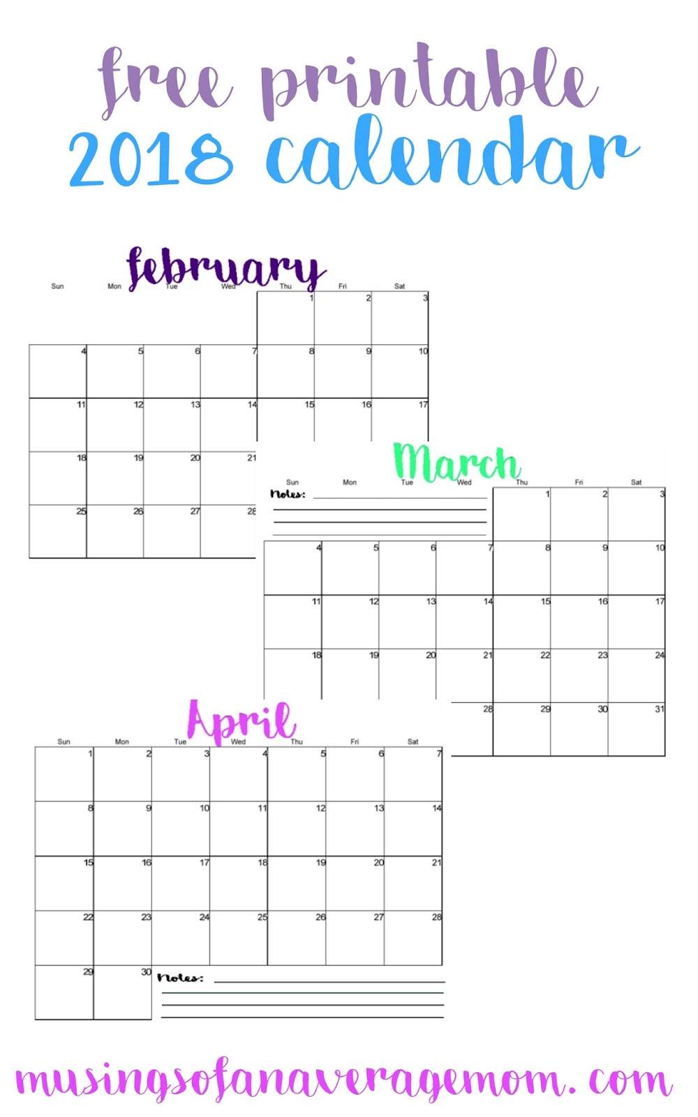 2018 Calendar Printable Free : Musings of an average mom horizontal calendars