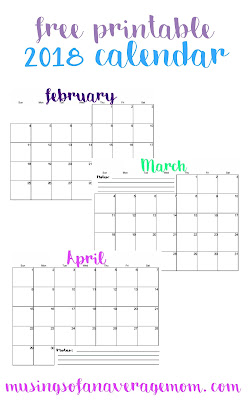 2018 printable calendars