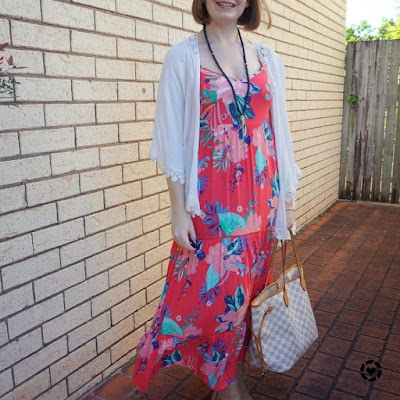awayfromtheblue Instagram | summer floral maxi dress in autumn with kimono and ankle boots LV neverfull tote
