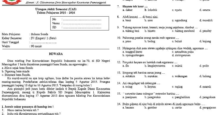 Soal Uas B Sunda Kls 4 Sd Mi Semester 1 K13 Beserta Kunci Jawaban Edukasi Master