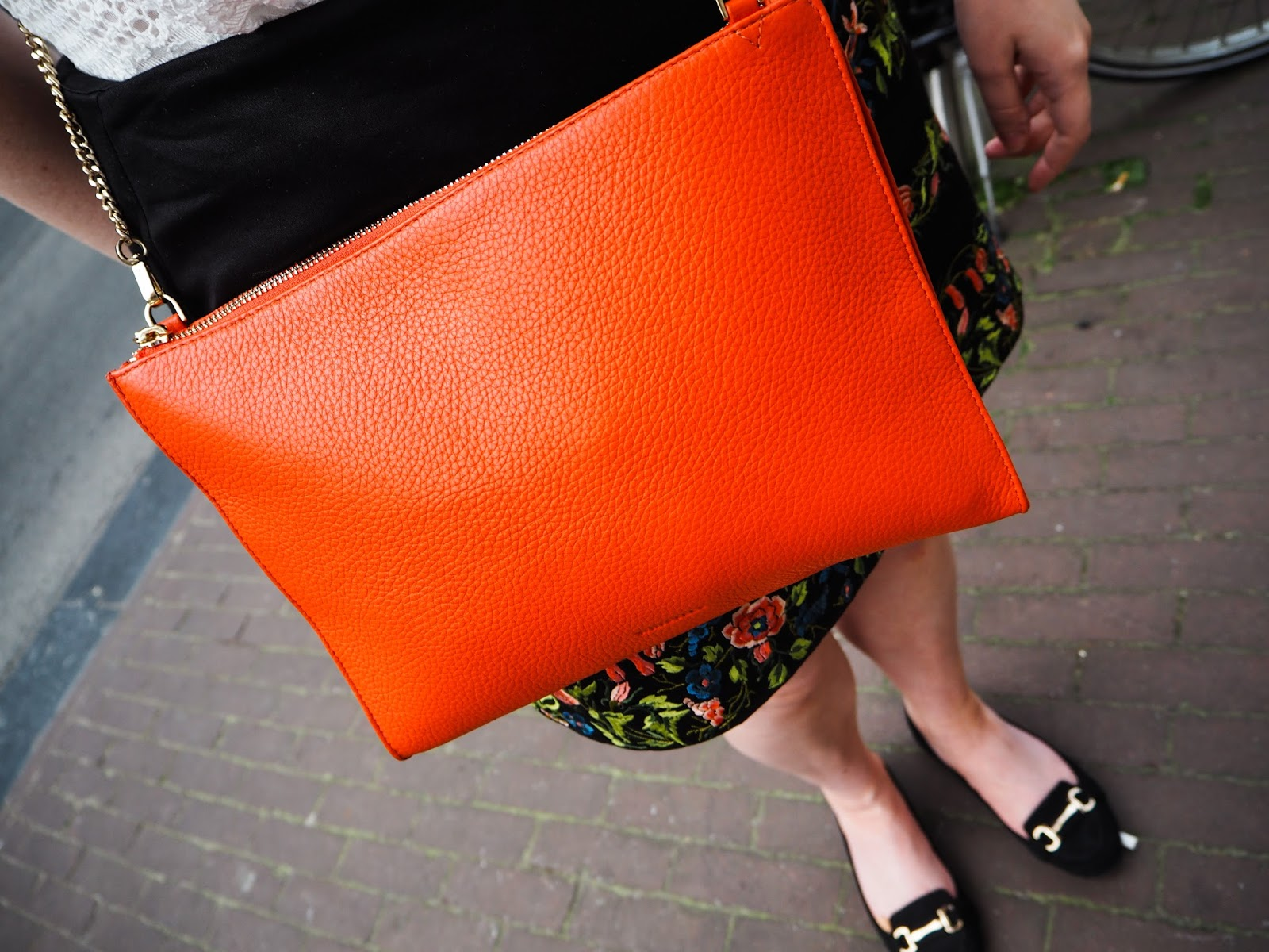 Whistles Leather Chain Bag in Orange
