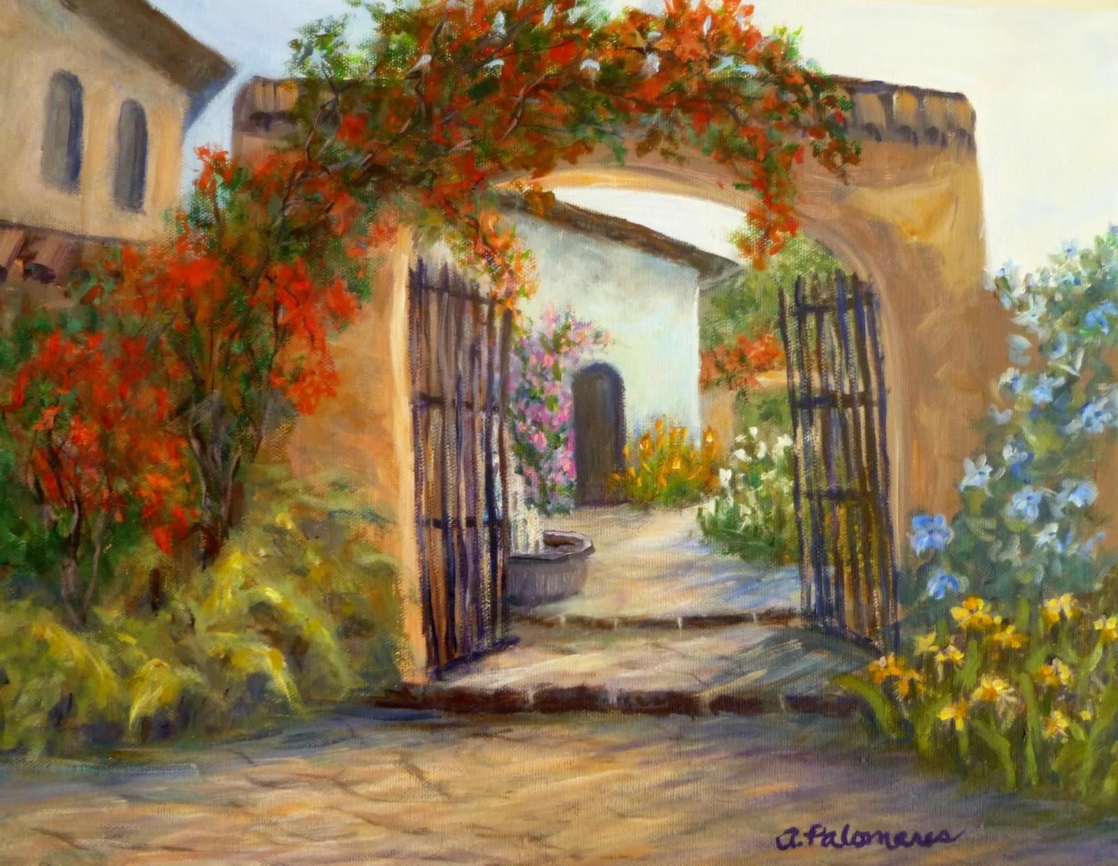 Italian Garden Paintings | Coastal Fine Art Paintings by ...