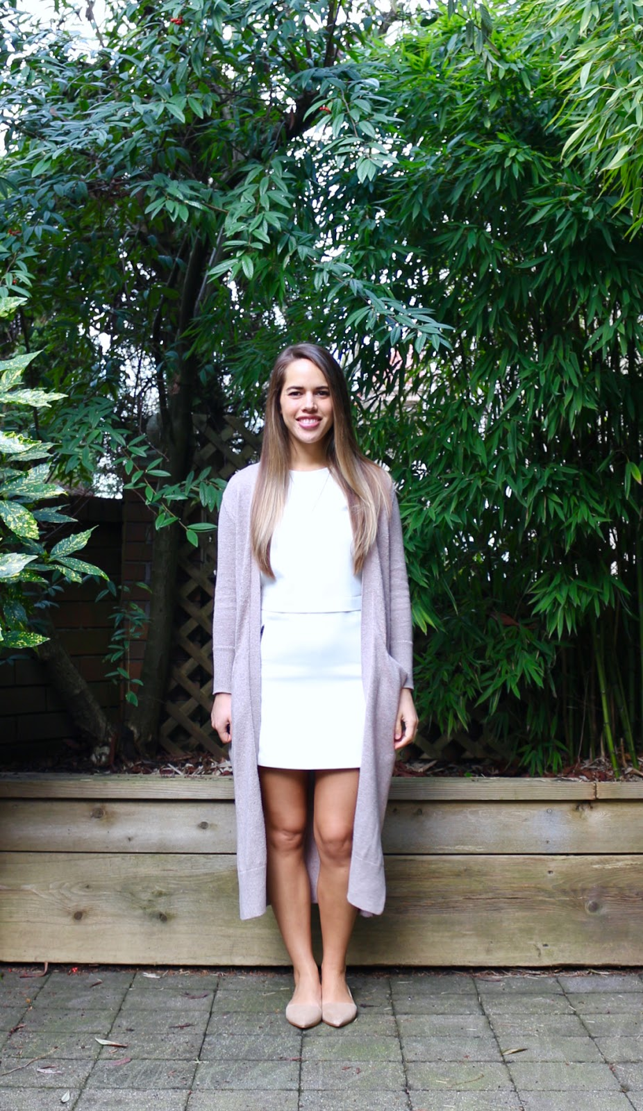 Jules in Flats - Duster Cardigan with White Shift Dress (Business Casual Spring Workwear on a Budget)