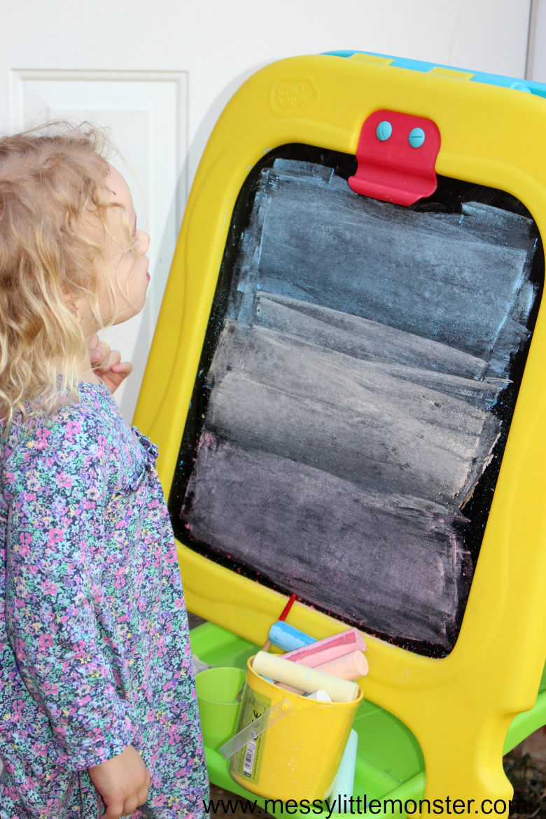 painting with water - a fun and easy to set up outdoor art idea for kids