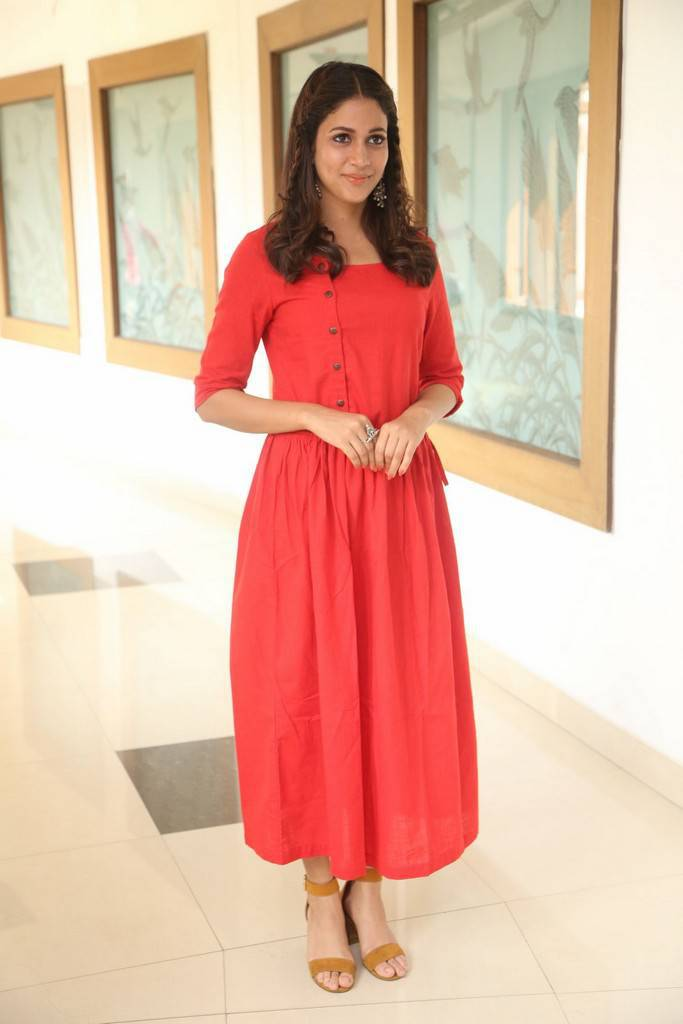 Glamours Telugu Girl Lavanya Tripathi At Movie Success Meet In Red Dress