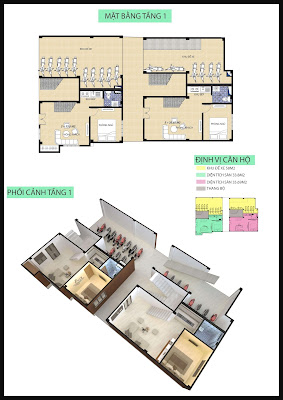 Mặt bằng tầng 1 chung cư mini Minh Đại Lộc 4