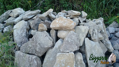 Pedra para revestimento de parede, do tipo pedra moledo, nesse tom acinzentado, com espessura entre 7 cm a 15 cm.
