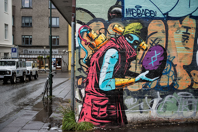 While you discovered his big mural a few days ago, Deih was also pretty busy working on several smaller street pieces around Reykjavik in Iceland.