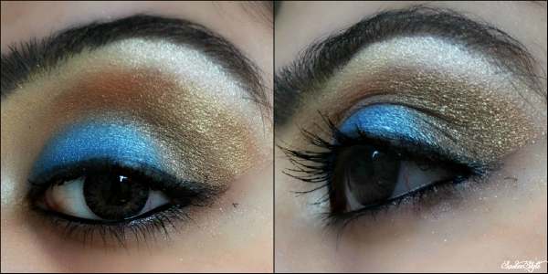 Teal and golden eye look
