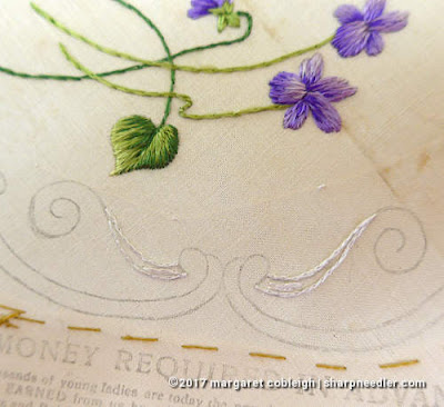 Society Silk Violets: beginning to stitch the embroidered border