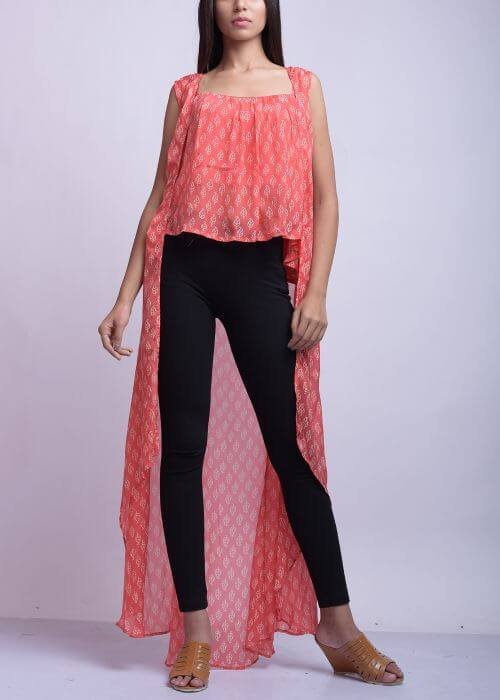 Pink Wrinkle Crepe Top With Jeans