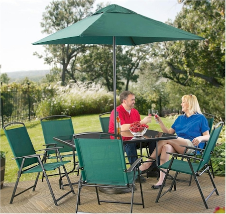 8-piece Castlecreek wide-chair patio set for $159.99 - $10.00 promo code + $29.99 shipping u003d $179.99. Includes 6 chairs with arms glass table and market ... & Daily Cheapskate: 8-piece Castlecreek wide-chair patio set for ...