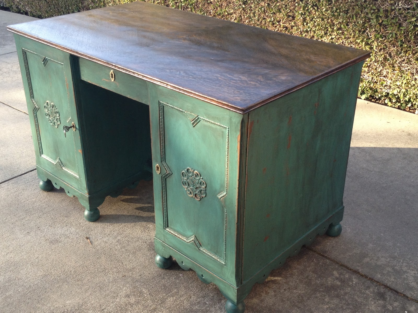 just as lovely upcycled furniture beautiful antique green shabby chic two sided desk with. Black Bedroom Furniture Sets. Home Design Ideas