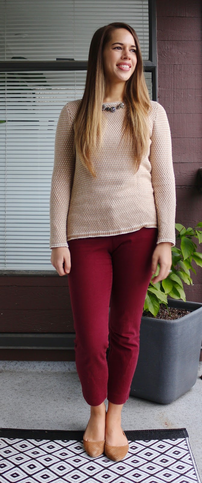 Jules in Flats - Camel and Burgundy Work Outfit