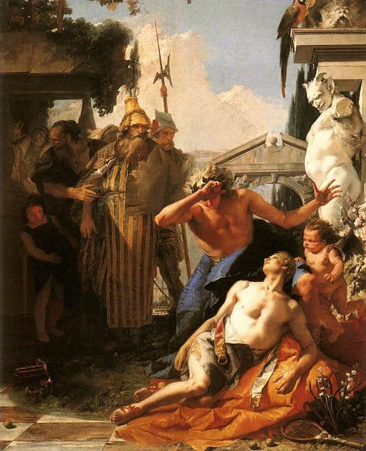 Obraz olejny, konający półnagi młodzieniec osłonięty szatą nad nim bóg Apollon w wieńcem laurowym na głowie obk inni ludzie