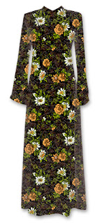 Gbr. Motif Bunga Desain Tekstil Aksen Putih longdress