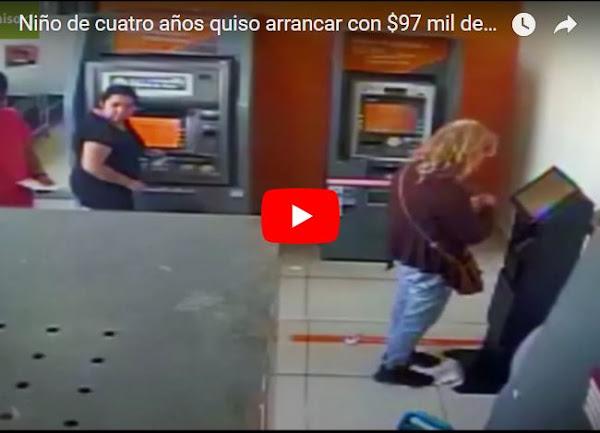 Niño de aproximadamente 4 años atracó a un cliente de un banco