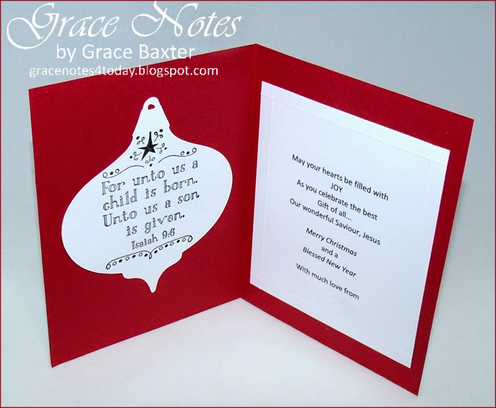 red musical ornament card, inside, by Grace Baxter
