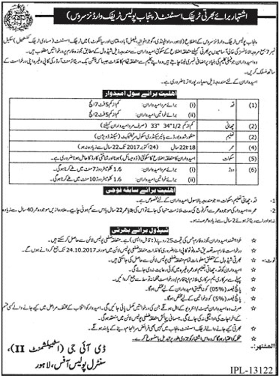 Jobs In Punjab Police Traffic Warden Services Punjab  Oct 2017