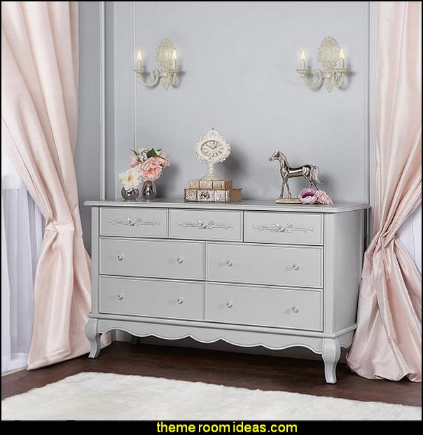 Evolur Aurora 7 Drawer Double Dresser   Blush pink decorating - blush pink decor - blush and gold decor - blush pink and gold bedroom decor -  blush pink gold baby girl nursery furniture - blush art prints - rose gold bedroom decor -  blush black bedroom decor - blush mint green decor - Blush Black Gold Glitter home decor - Blush Pink furniture