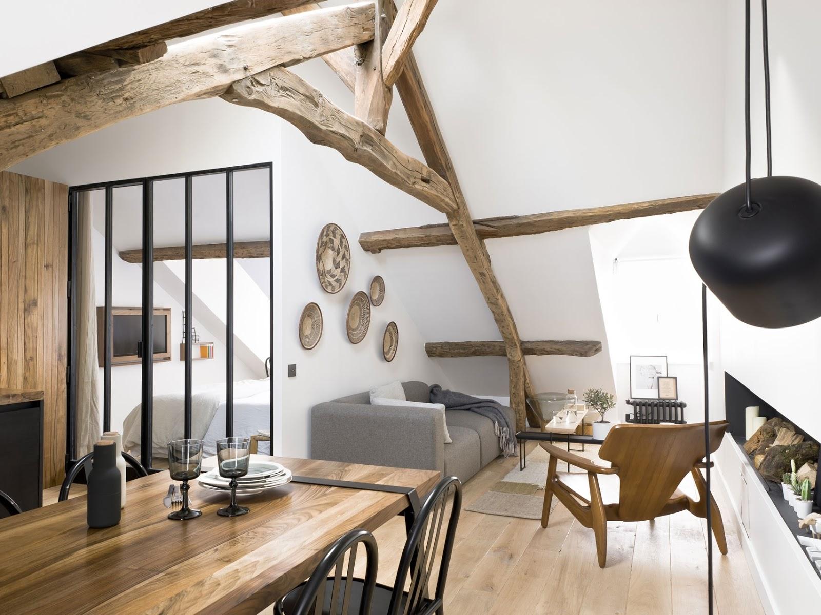 Rustic, modern și scandinav într-o mansardă de 40 m² din Paris