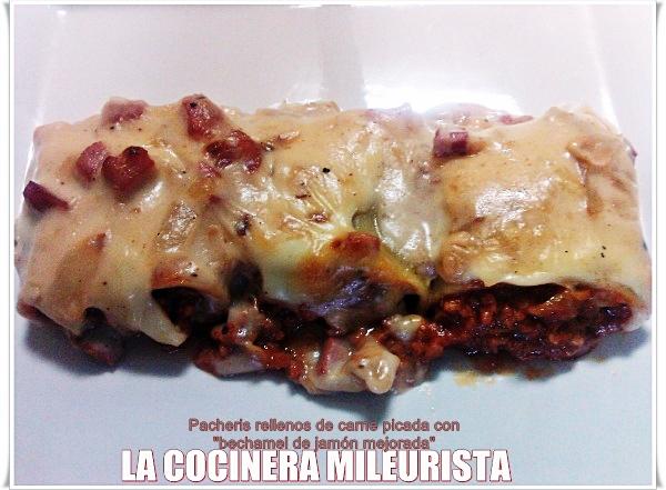 """Paccheris rellenos de carne picada con """"bechamel de jamón mejorada"""""""