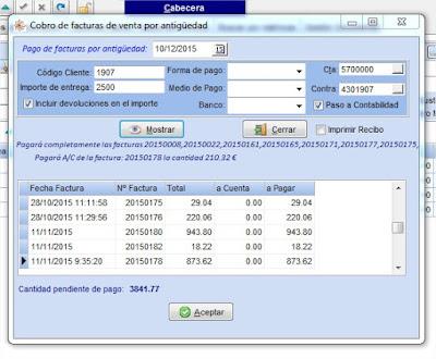 Pago de facturas por antigüedad en el software de taller