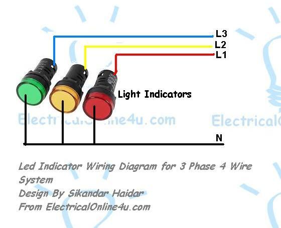 Light Indicator Wiring Diagrams For 3 Phase Voltage Coming Testing -  Electricalonline4u Electricalonline4u