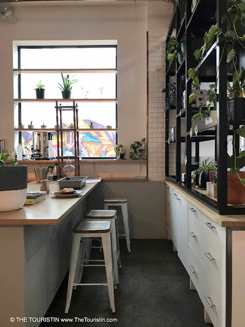 Wooden counter with bar stools and green plants at a cafe