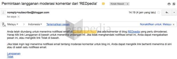 Lakukan konfirmasi untuk dapat menerima email notifikasi moderasi