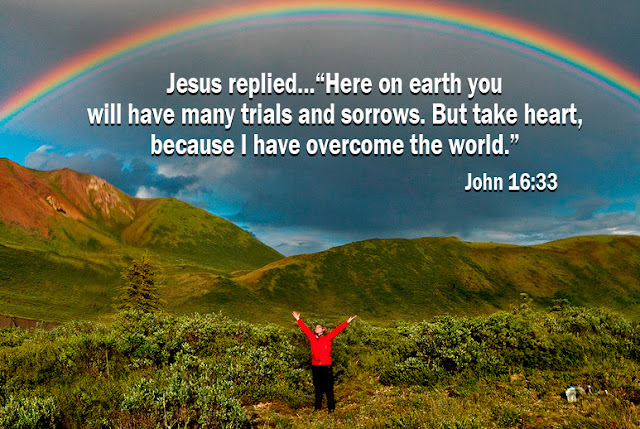 John 16:33 [Jesus said] Here on earth you will have many trials and sorrows. But take heart, because I have overcome the world.""
