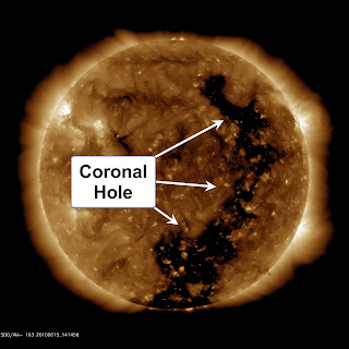 Image of the Sun by SDO illustrating the phenomena of coronal holes