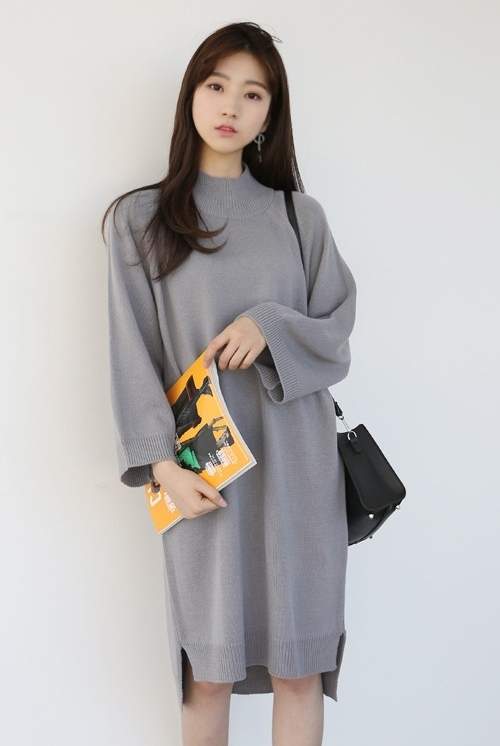 Loose Sleeve Mock Neck Dress